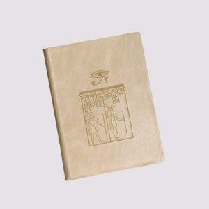 Кожаный ежедневник в бежевом цвете в египетском стиле