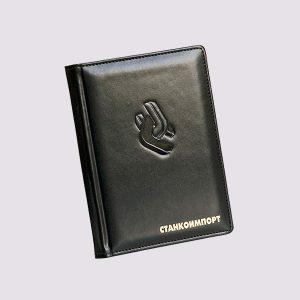 Кожаный ежедневник в черном цвете с логотипом