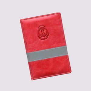 Кожаный ежедневник в красном цвете с логотипом