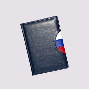 Кожаный ежедневник в синем цвете с флагом РФ