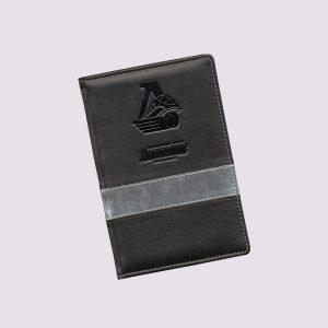 Кожаный ежедневник в черном цвете с символикой Локомотив