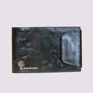 Еженедельник кожаный карманный датированный в черном цвете с логотипом