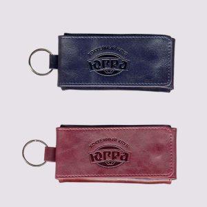 Ключница из кожи разных цветов с логотипом Югра