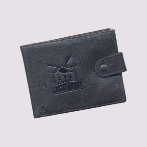 Кожаный кошелек в черном цвете с логотипом Экспедиция