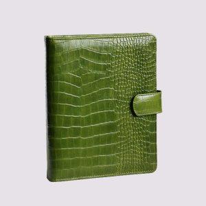 Органайзер кожаный в зеленом цвете с застежкой