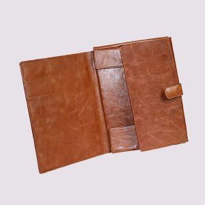 Кожаные папки для бизнес-блокнотов в коричневом цвете с застежкой