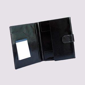 Кожаные папки для бизнес-блокнотов в черном цвете с застежкой