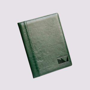 Кожаные папки для бизнес-блокнотов в зеленом цвете с тиснением