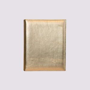 Кожаная папка на кольцах в бежевом глянцевом стиле