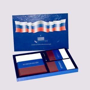 Кожаная подарочная коробка с флагом РФ