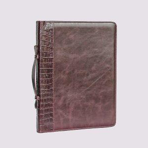 Кожаный деловой портфель коричневого цвета