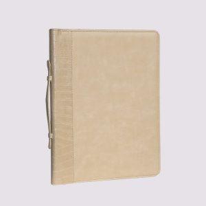 Кожаный деловой портфель бежевого цвета
