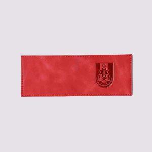 Кожаная обложка для студенческого билета с футбольной символикой в красном цвете
