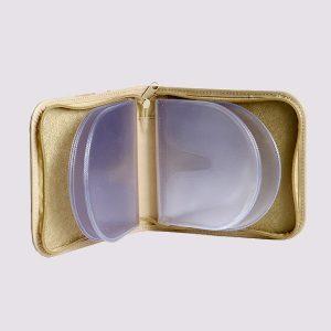 Футляр для CD дисков с силиконовыми вставками в золотом цвете