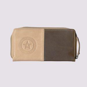 Кожаный кошелек с символикой Армии России двухцветный