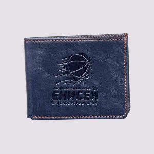Кожаный кошелек с логотипом Енисей