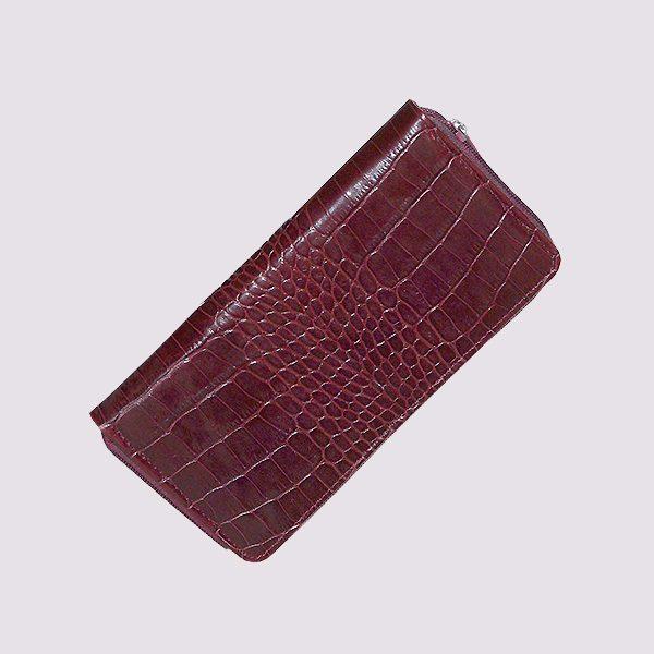 Кожаный кошелек в бордовом цвете в стиле крокодиловой кожи