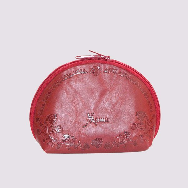 Кожаная косметичка в розовом цвете с именем
