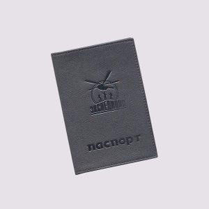 Обложка для паспорта из кожи в черном цвете с логотипом Экспедиция