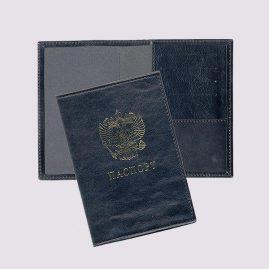Обложка для паспорта из кожи в черном цвете с гербом