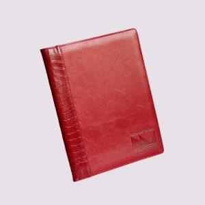 Кожаные папки для бизнес-блокнотов в красном цвете с тиснением