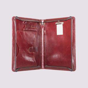 Кожаные папки для бизнес-блокнотов в красном цвете с молнией