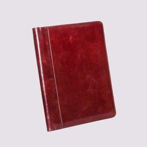 Кожаные папки для бизнес-блокнотов в красном цвете