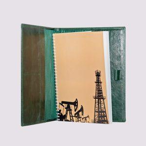 Кожаные папки для бизнес-блокнотов в зеленом цвете