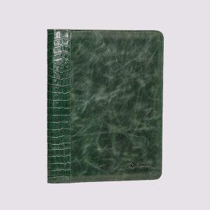 Кожаная папка на молнии в зеленом цвете