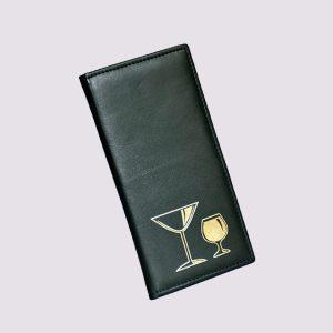 Папка в ресторан в черном цвете с рисунком бокалов