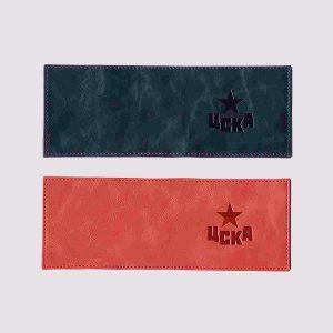 Кожаная обложка для студенческого билета с символикой ЦСКА в разных цветах