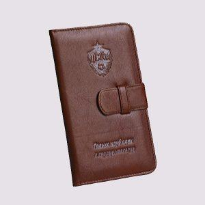 Кожаное тревел-портмоне с логотипом ЦСКА