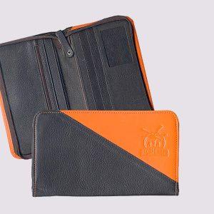 Кожаное тревел-портмоне двухцветное с логотипом Экспедиции