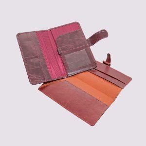 Кожаное цветное тревел-портмоне