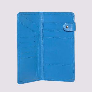 Кожаное тревел-портмоне в голубом стиле